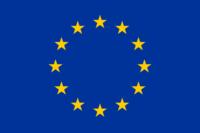 Eine Flagge mit im Kreis angeordneten gelben Sternen vor blauem Hintergrund.