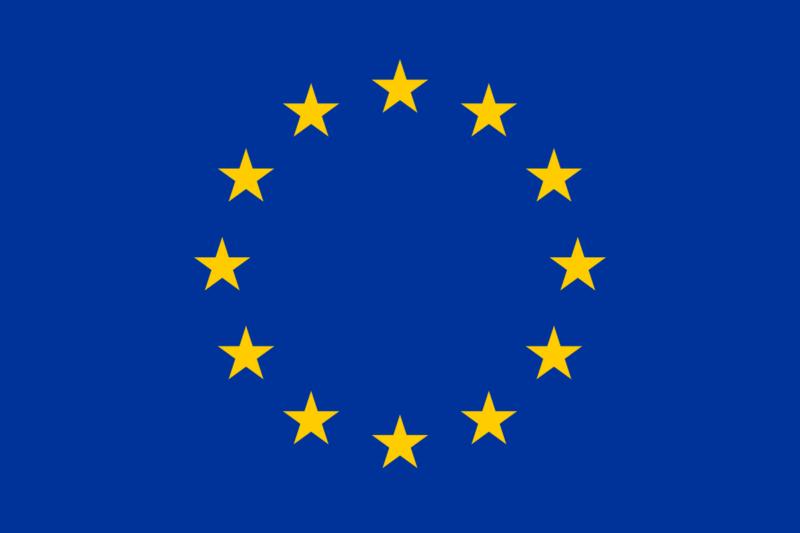 Eine Flagge mit im Kreis angeordneten Sternen vor blauem Hintergrund