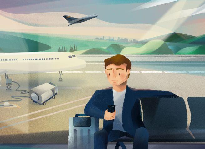 Eine Illustration: ein Mann sitz mit einem Handy in der Hand wartend und durch das Fenster dahinter ist das Vorfeld eines Flughafenterminals zu sehen.